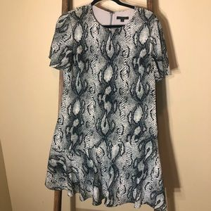 Rachel Zoe Snakeskin Ruffle Dress-EUC